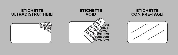 etichette antieffrazione, ultradistruttibili, etichette void, etichette con pre-tagli